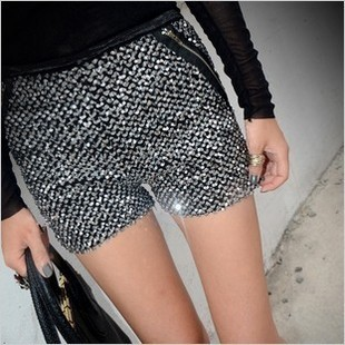 Women's fashion wind bling 2012 new arrival paillette slim hip boot cut jeans shorts
