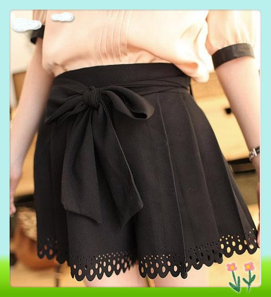 Women's Female Fashion Shorts,Summer Bow Elastic Delicate Cutout Carved Shorts Culottes