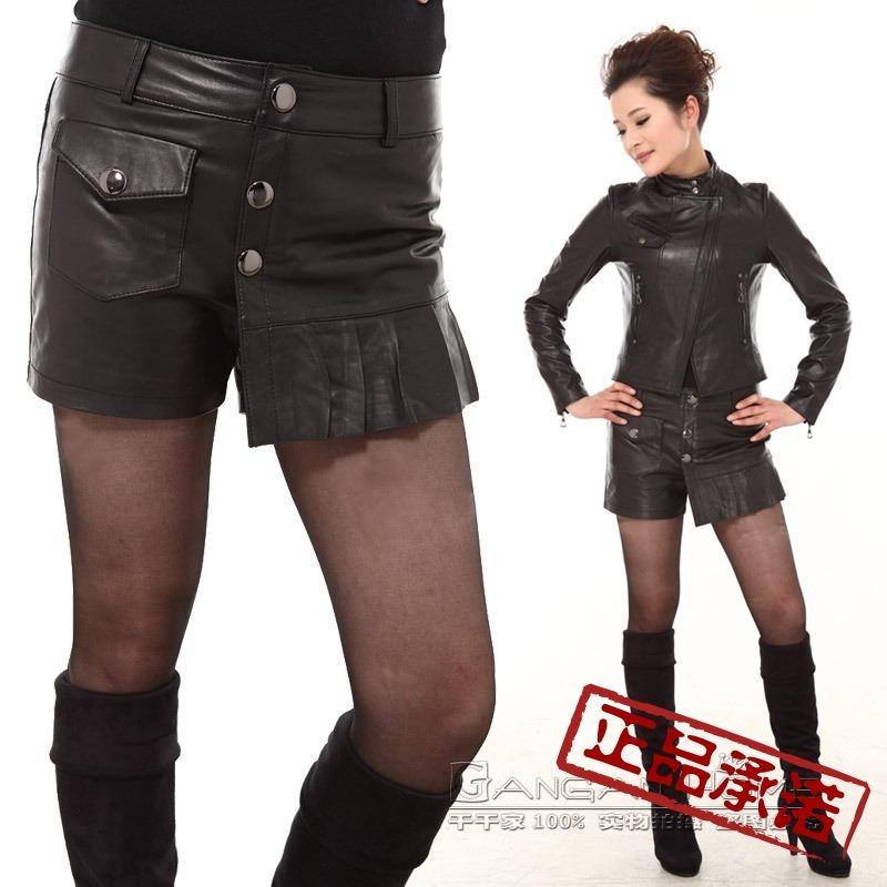 Women's genuine leather short trousers sheepskin boot cut jeans light skin tight shorts pants