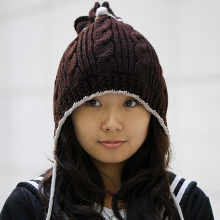 Women's hat cute hat fashion knitted long ear hat autumn and winter female hat
