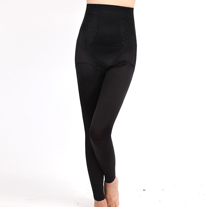Women's high waist abdomen pants drawing long body shaping pants tiebelt corselets butt-lifting fat burning legging