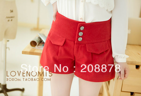 women's high waist slim fashion woolen shorts lady's woolen short pants for winter 1pcs freeshipping