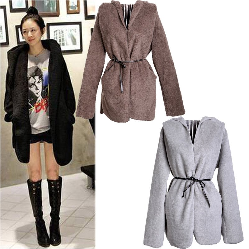 Women's Hoodie Coat Warm Down Cardigan Long Sleeves Fluffy  Blouse Jacket  Tops Black/Brown/Gray, Free Shipping  Dropshipping
