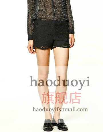 Women's lace shorts with black wave edge for asos free shipping for cpam
