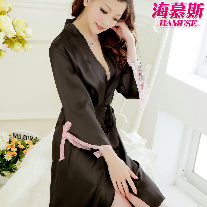 Women's long-sleeve black faux silk robe summer lace temptation bathrobe sexy sleepwear