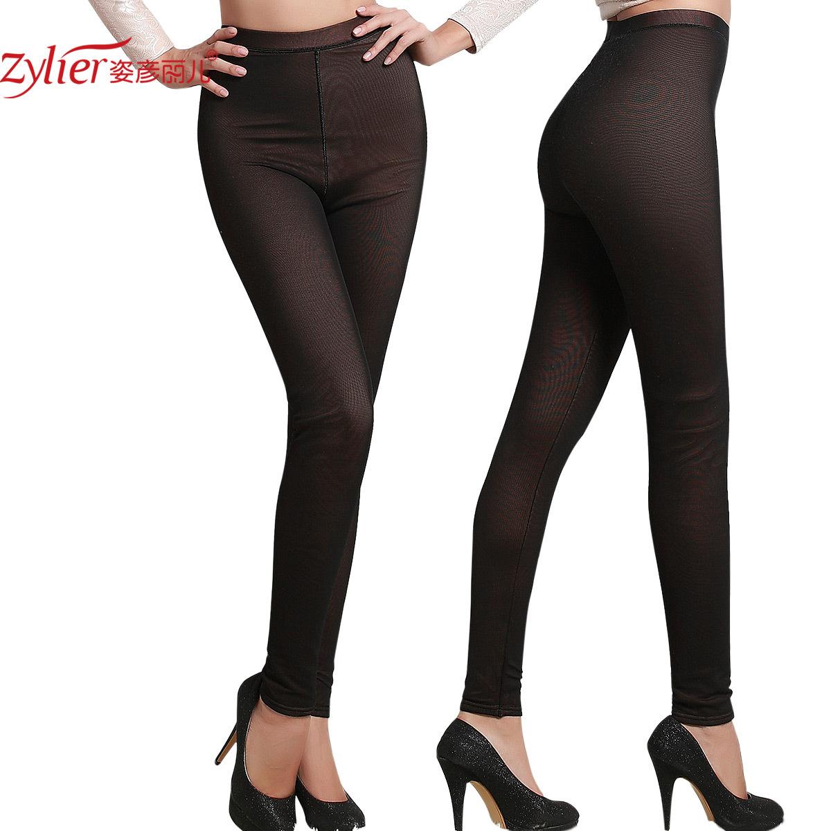 Women's meat mid waist thickening plus velvet warm pants legging long johns sk86
