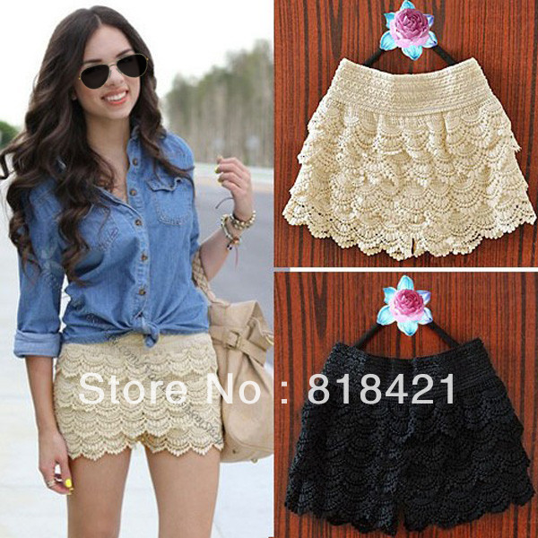Women's multi-layer lace cutout crochet shorts solid color sexy safety pants basic skirt pants Size S-M