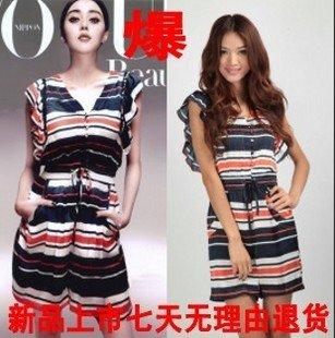 Women's Plus Size summer fashion elegant silk sailor stripes short-sleeve dress pant/Ladies Jumpsuits(S-XXL)-Free Shipping