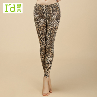 Women's print leopard print fashion all-match legging warm pants slim