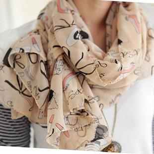 women's scarf autumn and winter lipstick high-heeled shoes doodle sun cape long design silk scarf