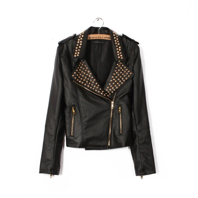 Women's self-cultivation black rivet decorative leather coat leather jacket TR1960