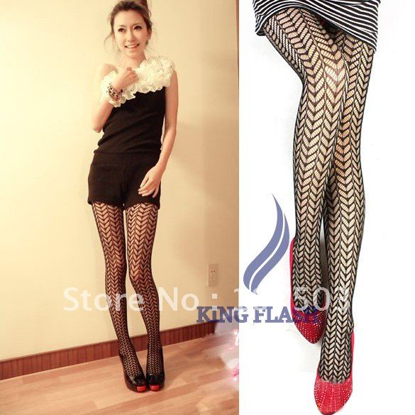 Women's Sexy Grid Net Pattern See Through Pantyhose Stockings Leggings Black 5998