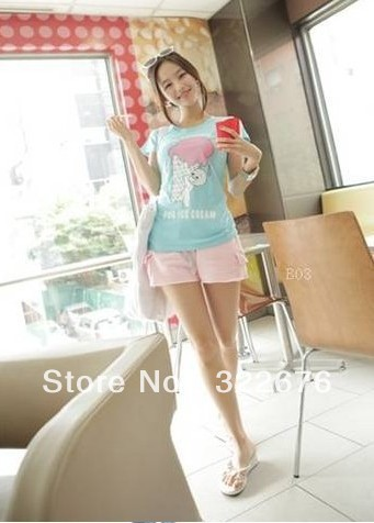 Women's Stylish Casual Pattern Pocket Decorated String Elastic Waist Sport Short Pants Blue/Pink HY12050816-1/HY12050816(US)