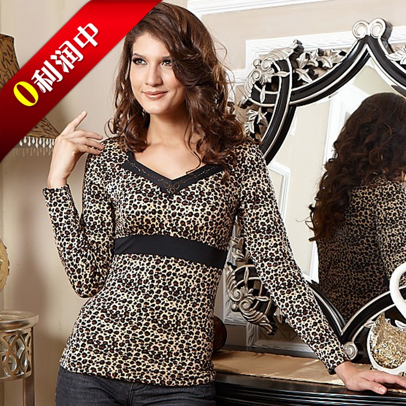 Women's thermal underwear leopard print modal thickening double layer V-neck long-sleeve thermal top V-neck