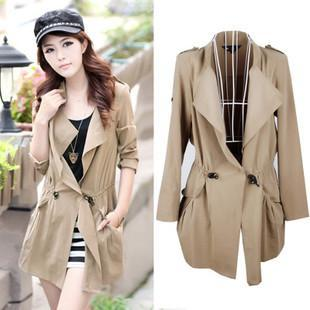 Women's turn-down collar drawstring belt slim waist casual slim medium-long long-sleeve thin trench outerwear