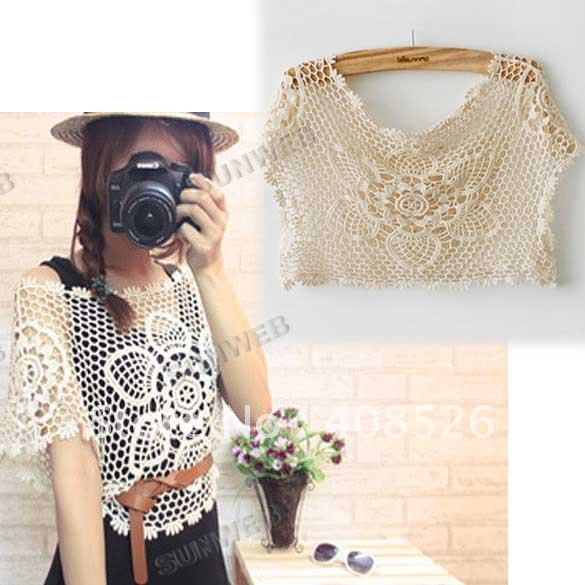 Women's Vintage Summer See Through Crochet vest Lace Sexy Tank Cape Waistcoat Larger flowers pattern Top free shipping 4038