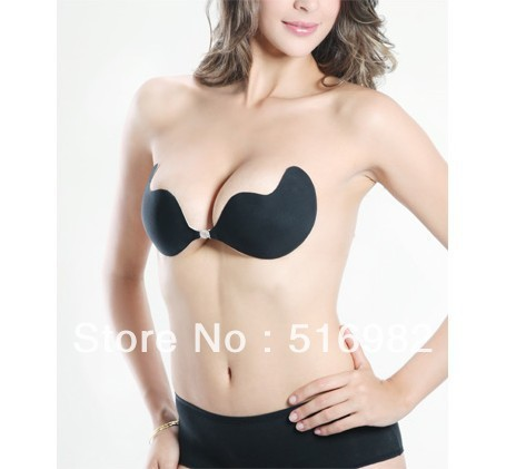 Women Self-Adhesive Push Up Silicone Bust Front Closure Strapless Invisible Bra SL00225 Free Shipping