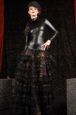 Women Sexy Black Leather Long Sleeve Transparent Ruffled Layered Cake Lace Clubwear Dress Fashion Tight Zipper Back Long Dresses