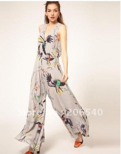 Women Sexy Elegant Bird Print Wide Leg Chiffon Playsuit Jumpsuit Long Pants