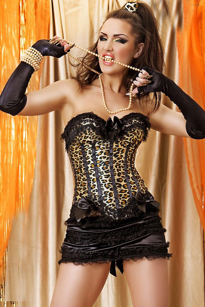 Women shaper  (Bust+g-string +skirt)  Sexy Lingerie satin Corset  leopard 1952