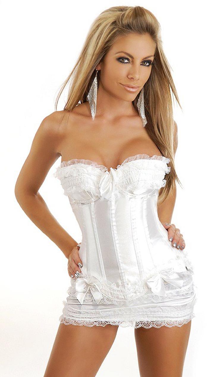 Women shaper  (Bust+g-string +skirt)  Sexy Lingerie satin Corset  white 1954