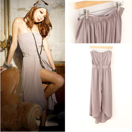 Women sleeveless chiffon strapless asymmstrical hem jumpsuit Short Romper long dress Free shipping