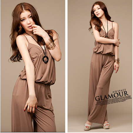 Women sleeveless elastic waist jumpsuit Free shipping