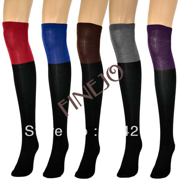 Women Two Tone Over Knee Socks Cotton High Legging Stocking 5 Colors Free shipping 8147