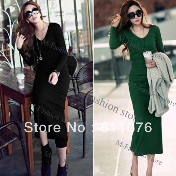 Women V-neck Long Sleeve Style Cotton Slim Fit Long Dress New Black, Green free shipping 7961