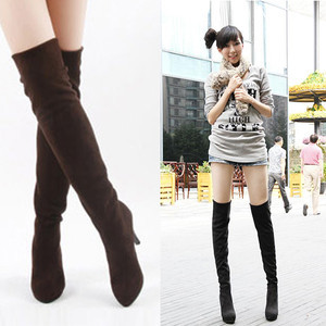 Women Vogue Sexy Black/Brown Thigh Over Knee High Heel Stretchy Boots US 5 6 7 8  A1852