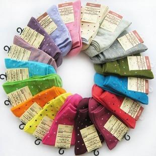 womens cotton blends cute dot socks stocking 12 pairs/Lot mix colors random free shipping
