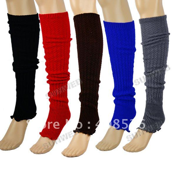 Womens Ladies Knit Stripe Leg Warmers Stocking Socks Legging Finger Gloves free shipping 7870