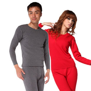Wool bamboo thickening male women's thermal underwear set dl1191 dl2191