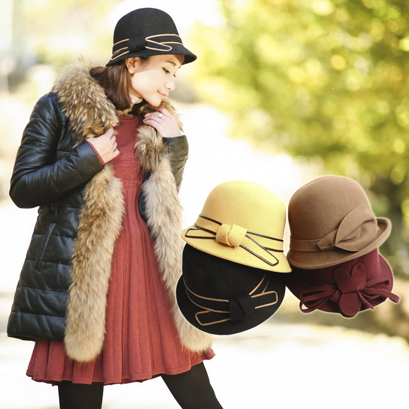 Wool winter hat female fashion circle bow cap vintage flower cap helmet-hat b2376