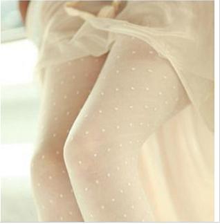 Wrap core silk leggings version of C with core spun yarn jacquard pantyhose dot white twill little stockings