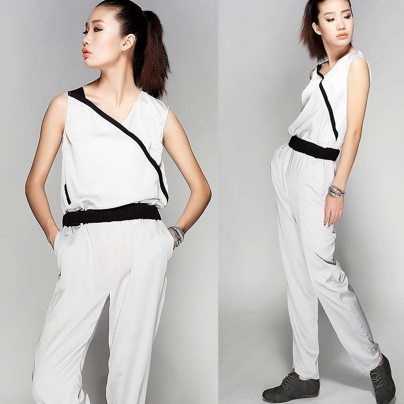XXL 2012 fashion summer  womens chioffon sleeveless V-neck white with black jumpsuit ladies slim overall  trousers for women