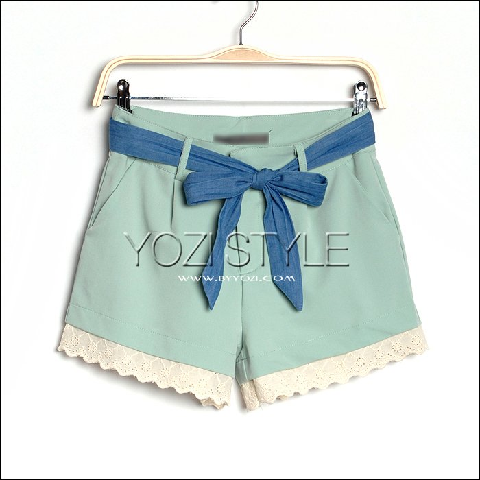 Y-128-017 summer 2012 lace decoration shorts female trousers