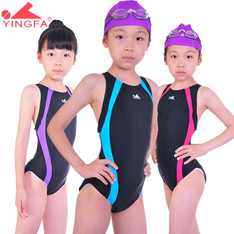 Ying fat child swimwear girls one-piece swimsuit female child young girl girls trigonometric swimwear