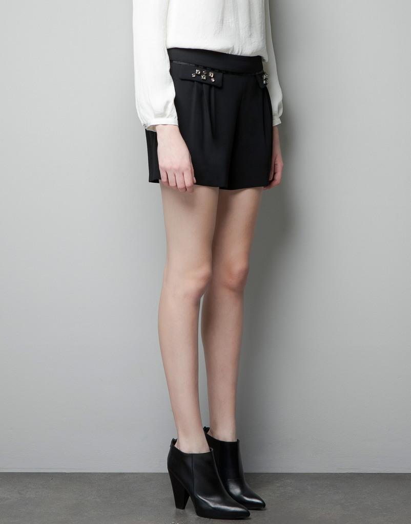 ZA** 1:1 Brand Women's Shorts with Rhinestone and Pocket flaps,freeshipping