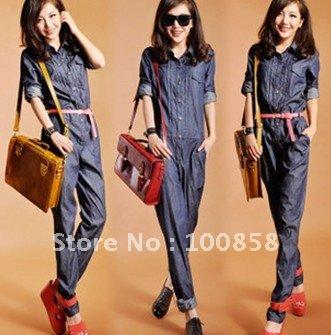 zb07032 high quality Cotton100% Long Sleeve Denim Lady Jumpsuits