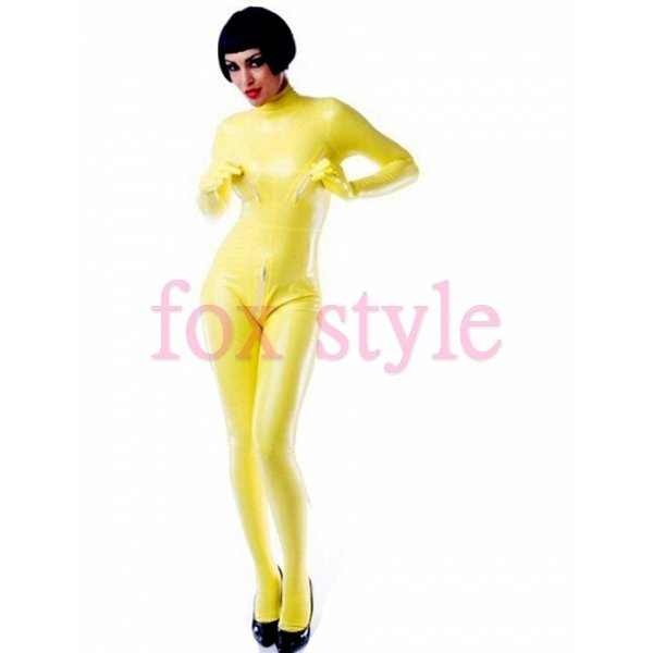 zipped latex playsuit for ladies