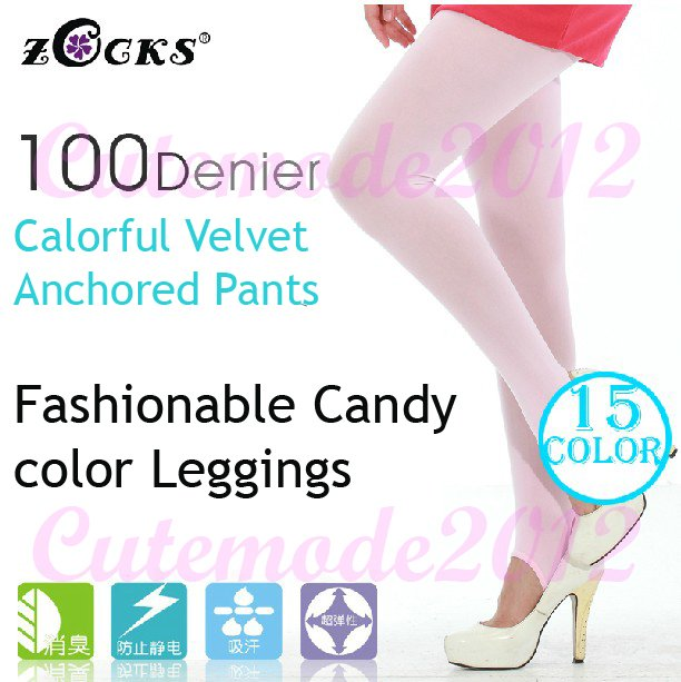 Zocks Womens 100D Candy Color Velvet Anchored Pants Legging Foot Tights Pantyhose Stockings Autumn Thicken Socks ZK0091