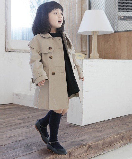 ZX100,Free Shipping! New style children jacket fashion girl beige double-breasted coat winter kids garment Wholesale And Retail
