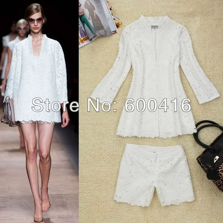 Free Shipping 2013 New Arrival Long Sleeve Exquisite Hollow out Cotton suit (tops + shorts)  for women 121114XB04
