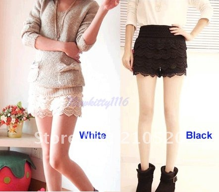Free Shipping 2pcs/lot Sweet Lace Stretchy Tiered Short Skirt Under Safety Pants Shorts WT/BK