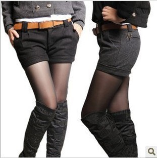 Free Shipping autumn winter women fashion all-match woolen Pleated suit shorts boot pants With Belt(Black+Gray+S/M/L/XL)121224#6