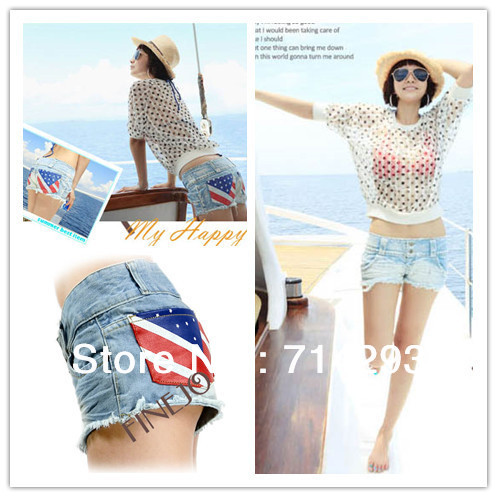 New Women casual jeans shorts With American flag denim jeans shorts summer pants Free Shipping 5353