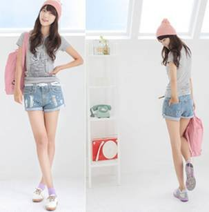 Summer small bit of the new hot pants low waist pants to wear white the flanging light-colored shorts women