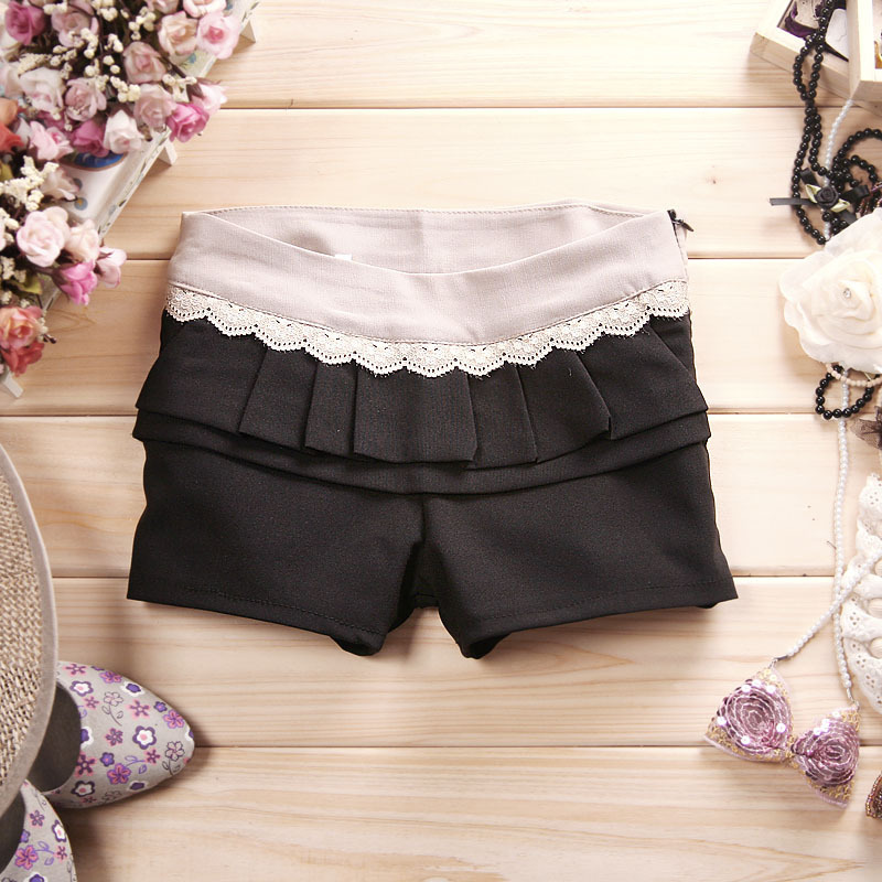 women's casual long ruffle suit shorts black
